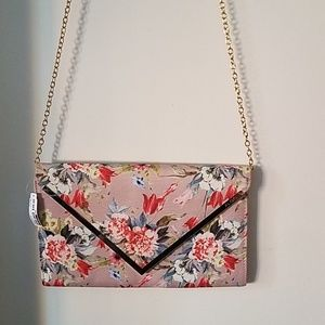Asos floral clutch with chain